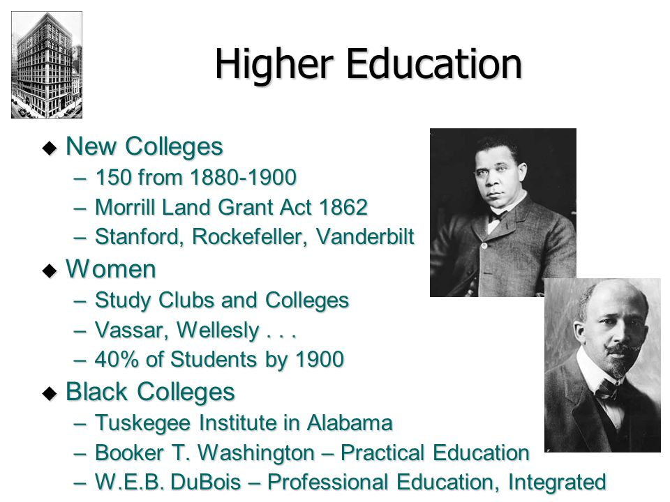Higher Education New Colleges Women Black Colleges 150 from 1880-1900