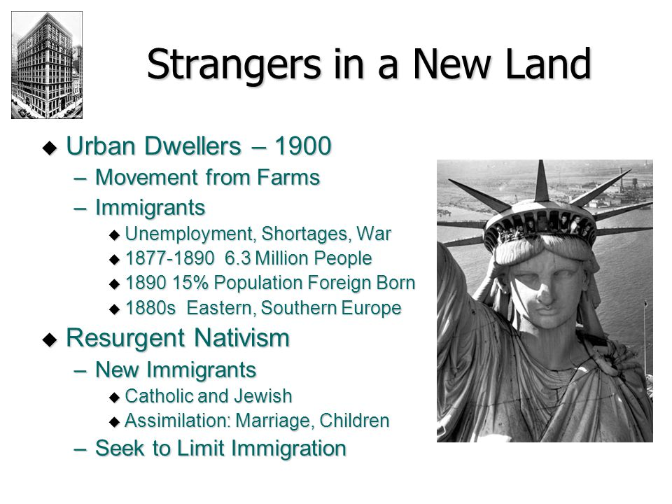 Strangers in a New Land Urban Dwellers – 1900 Resurgent Nativism
