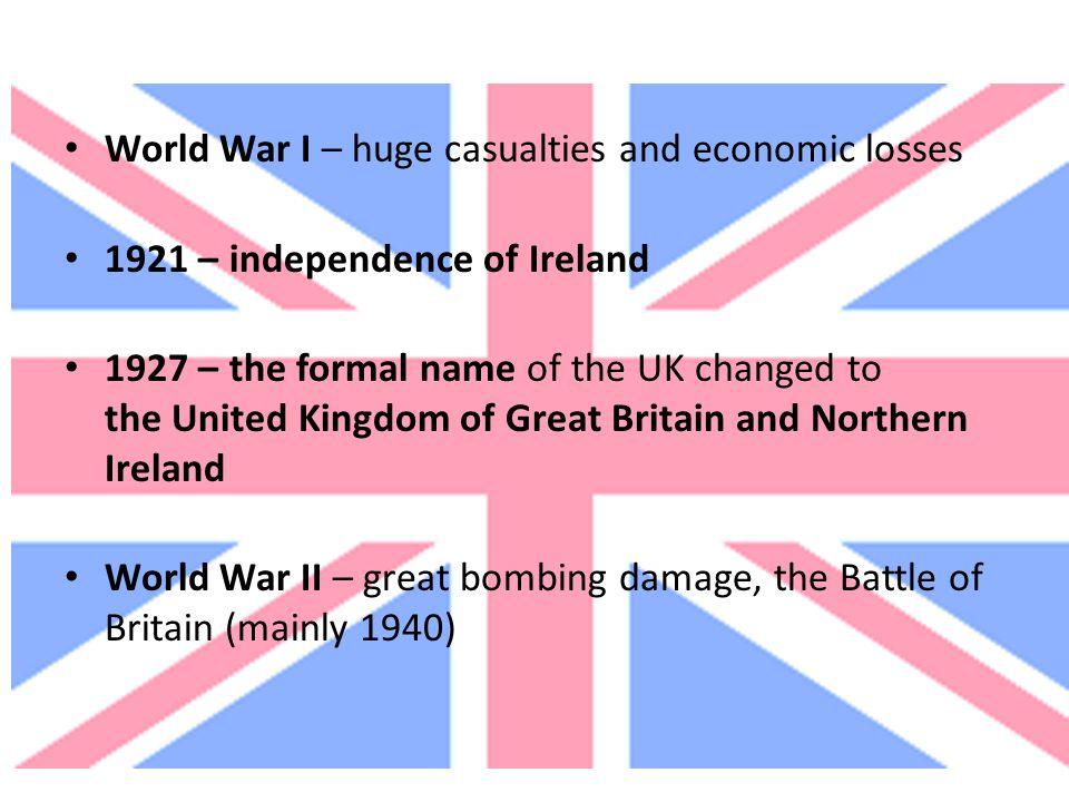 World War I – huge casualties and economic losses