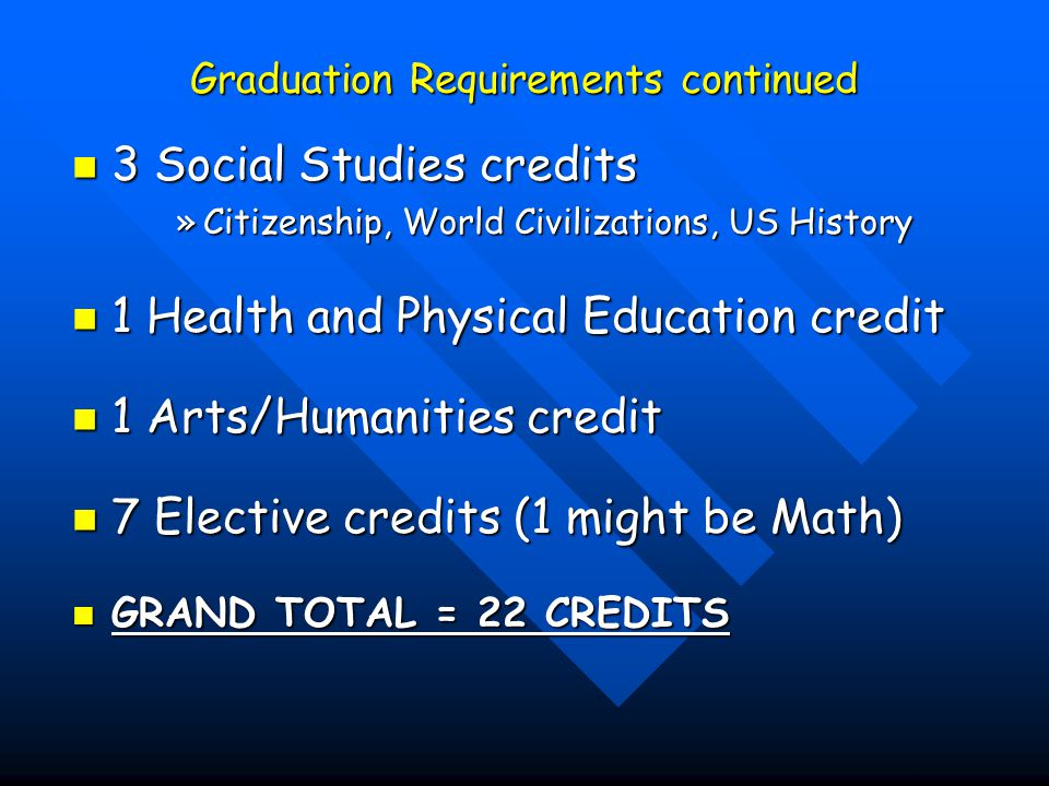 Graduation Requirements continued
