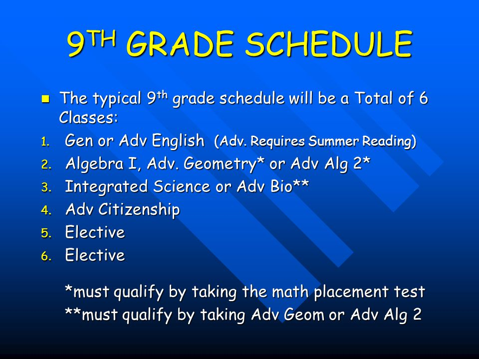 9TH GRADE SCHEDULE The typical 9th grade schedule will be a Total of 6 Classes: Gen or Adv English (Adv. Requires Summer Reading)
