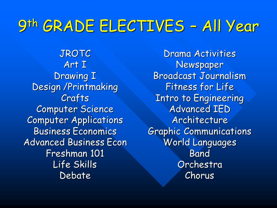 9th GRADE ELECTIVES – All Year