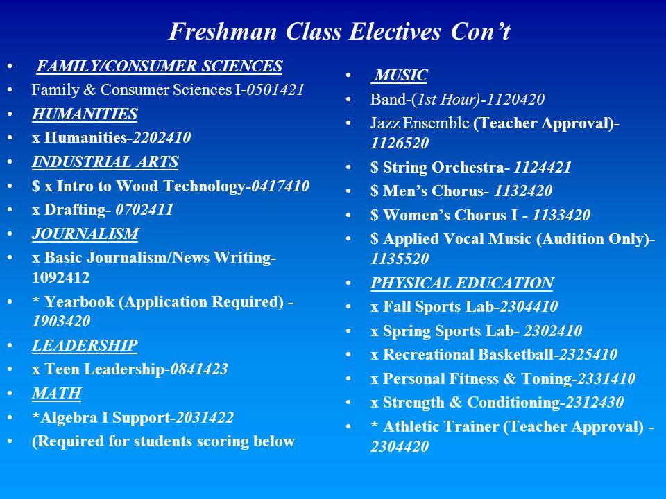 Freshman Class Electives Con't