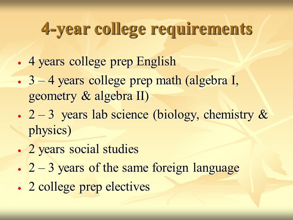 4-year college requirements