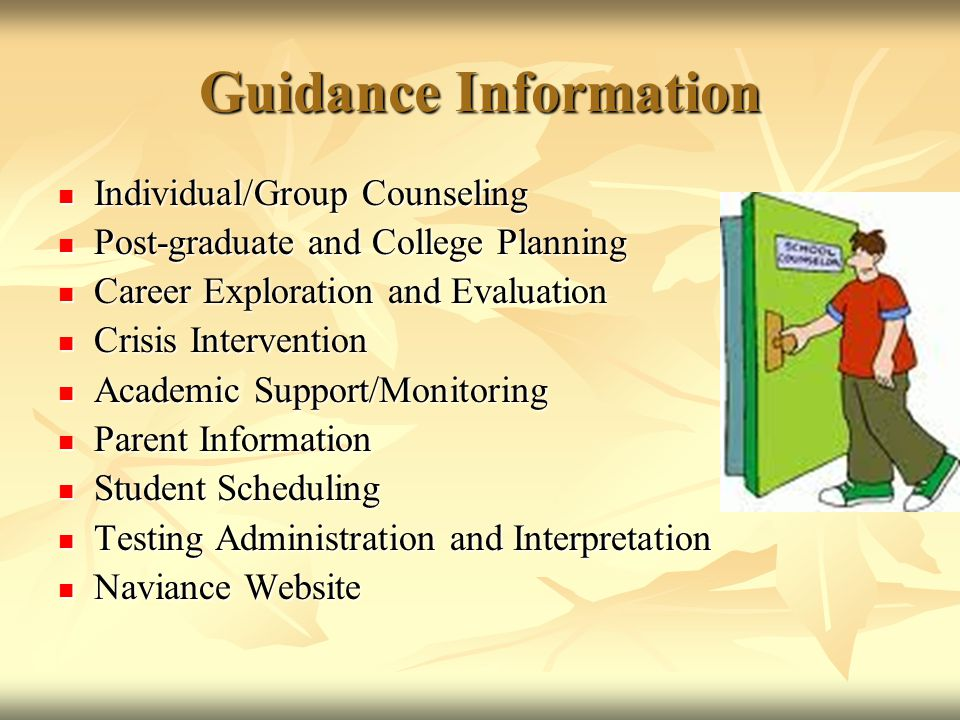 Guidance Information Individual/Group Counseling
