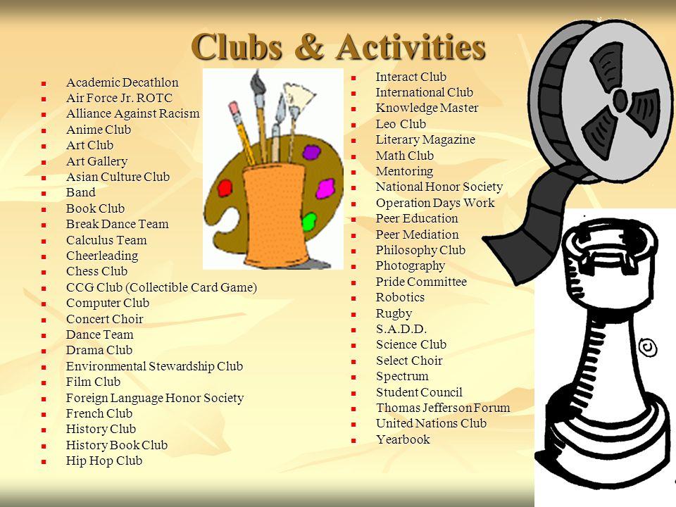 Clubs & Activities Interact Club Academic Decathlon International Club