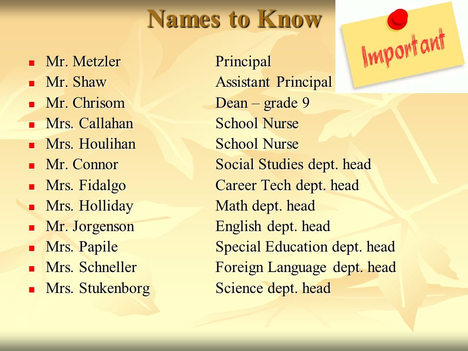 Names to Know Mr. Metzler Principal Mr. Shaw Assistant Principal