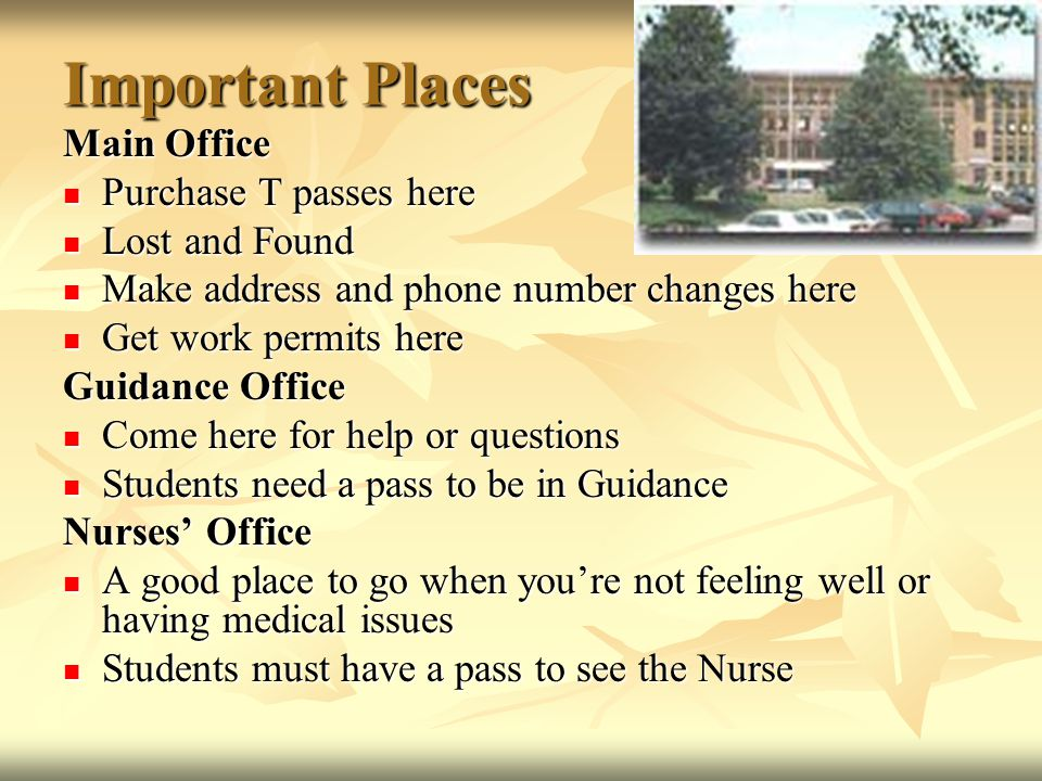 Important Places Main Office Purchase T passes here Lost and Found
