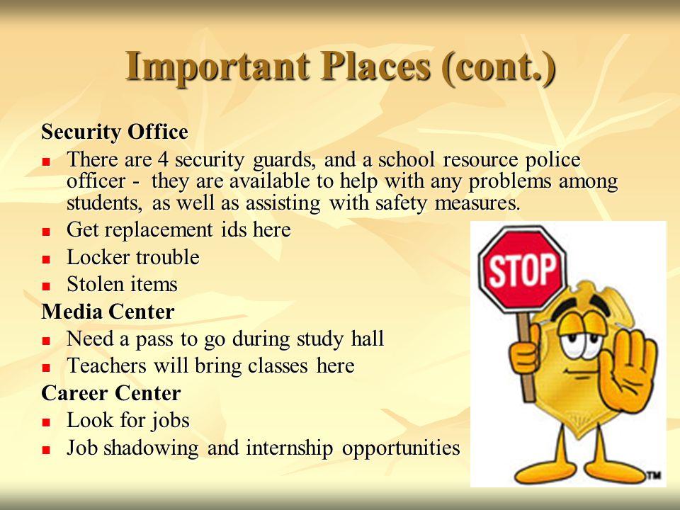 Important Places (cont.)