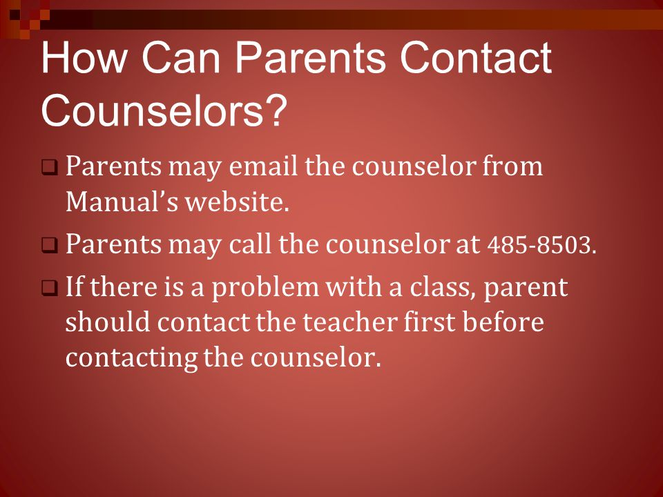 How Can Parents Contact Counselors
