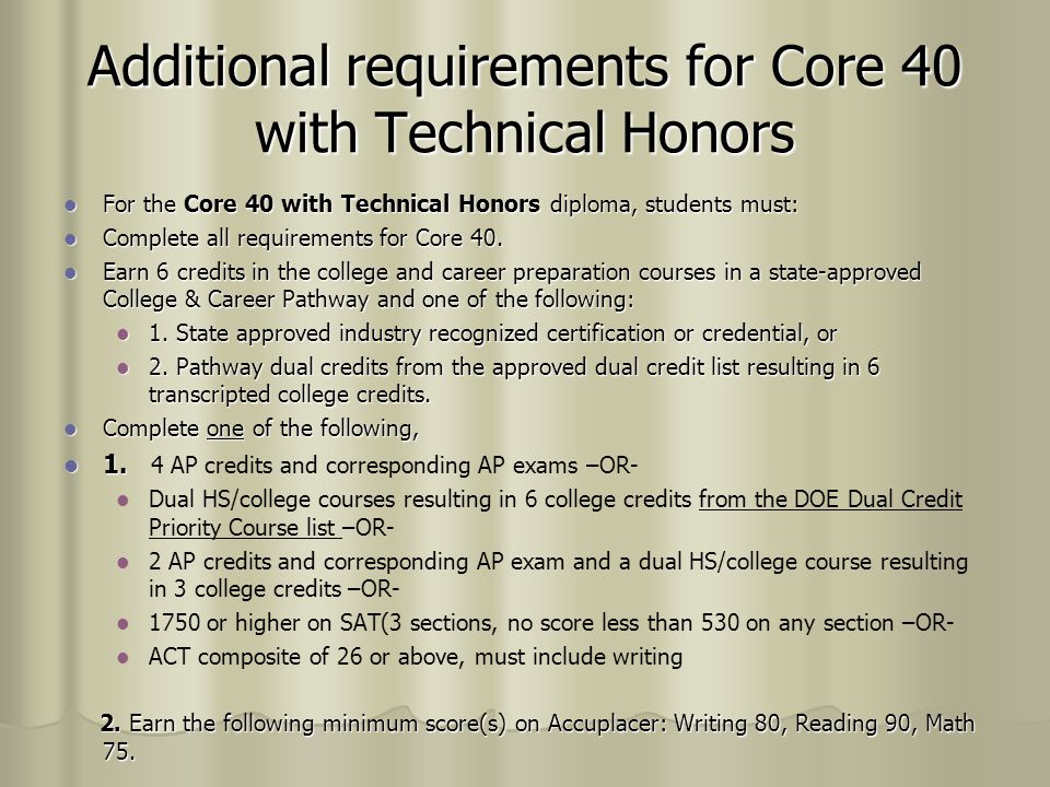 Additional requirements for Core 40 with Technical Honors
