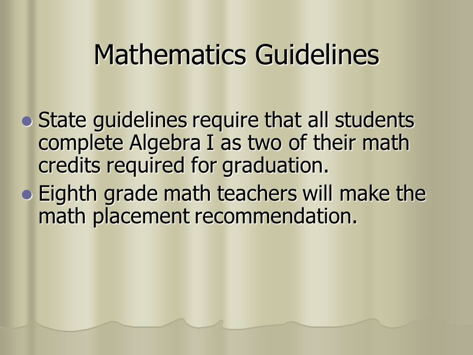 Mathematics Guidelines