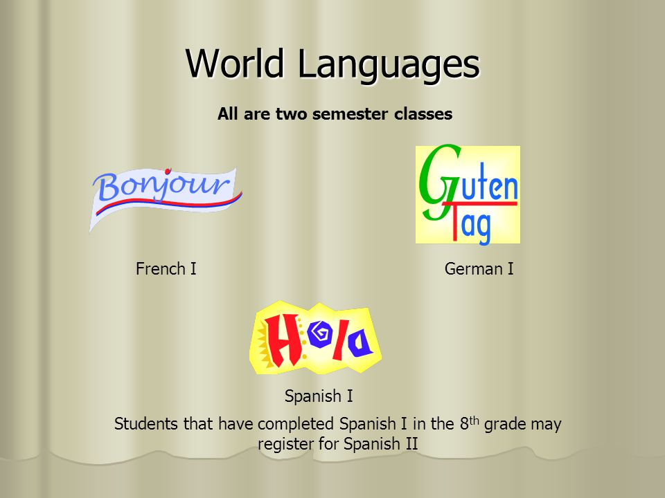 World Languages All are two semester classes French I German I