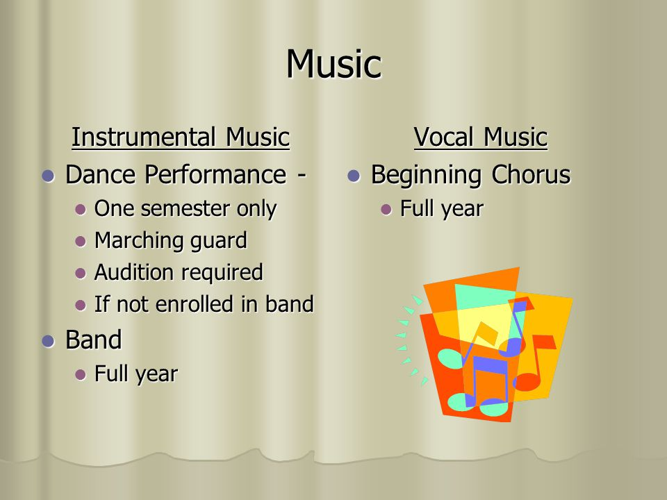 Music Instrumental Music Dance Performance - Band Vocal Music