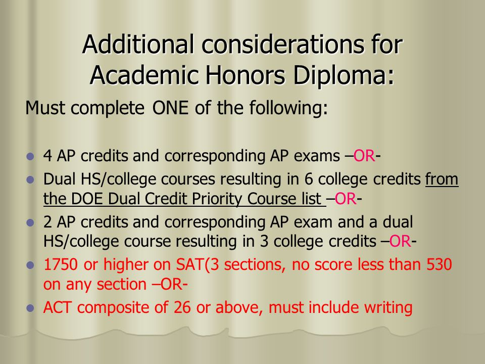 Additional considerations for Academic Honors Diploma: