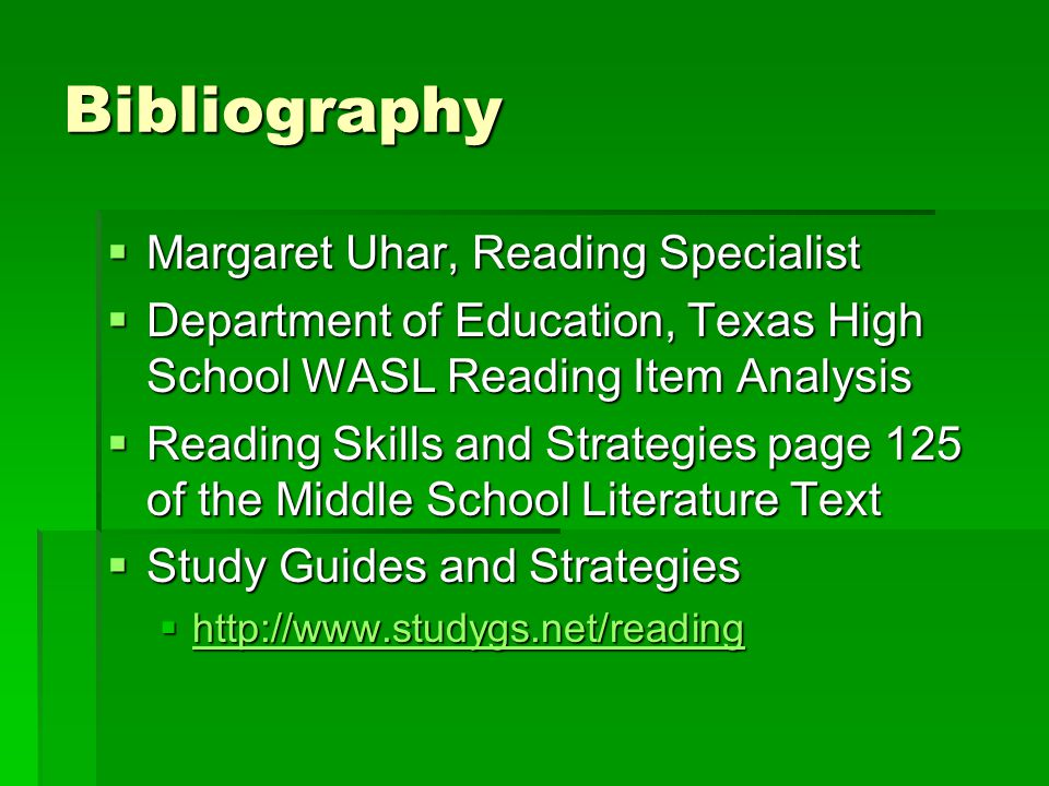 Bibliography Margaret Uhar, Reading Specialist