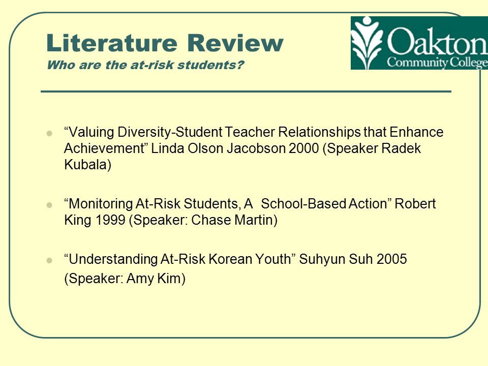Literature Review Who are the at-risk students