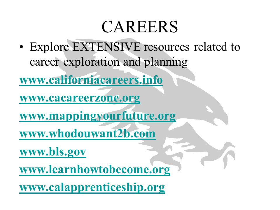CAREERS Explore EXTENSIVE resources related to career exploration and planning. www.californiacareers.info.