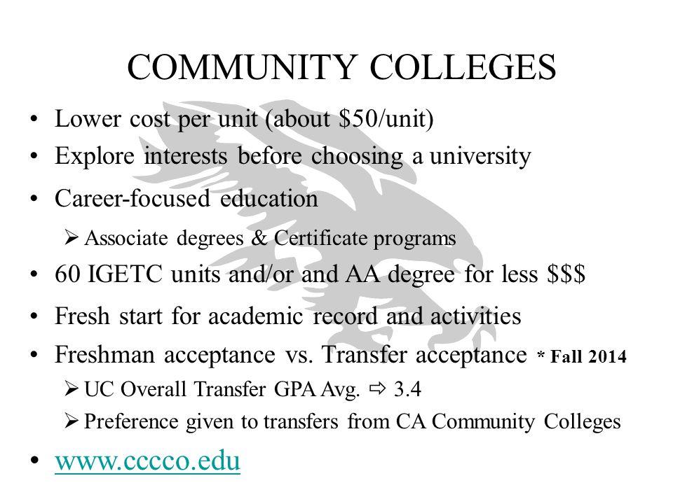 COMMUNITY COLLEGES www.cccco.edu Lower cost per unit (about $50/unit)