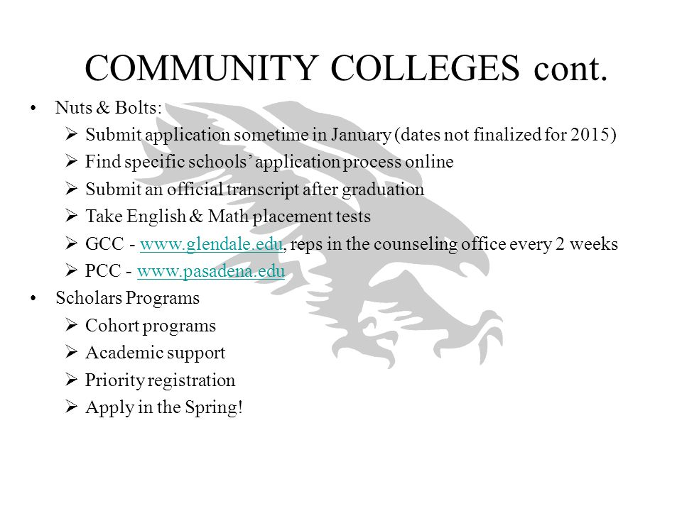 COMMUNITY COLLEGES cont.