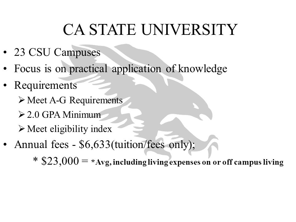 CA STATE UNIVERSITY 23 CSU Campuses