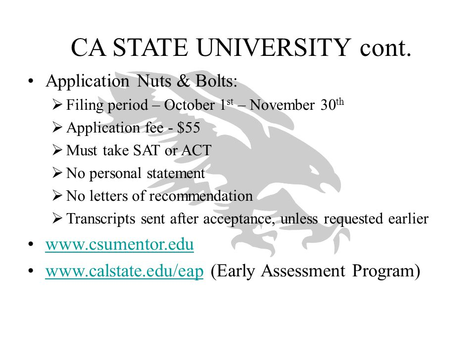CA STATE UNIVERSITY cont.