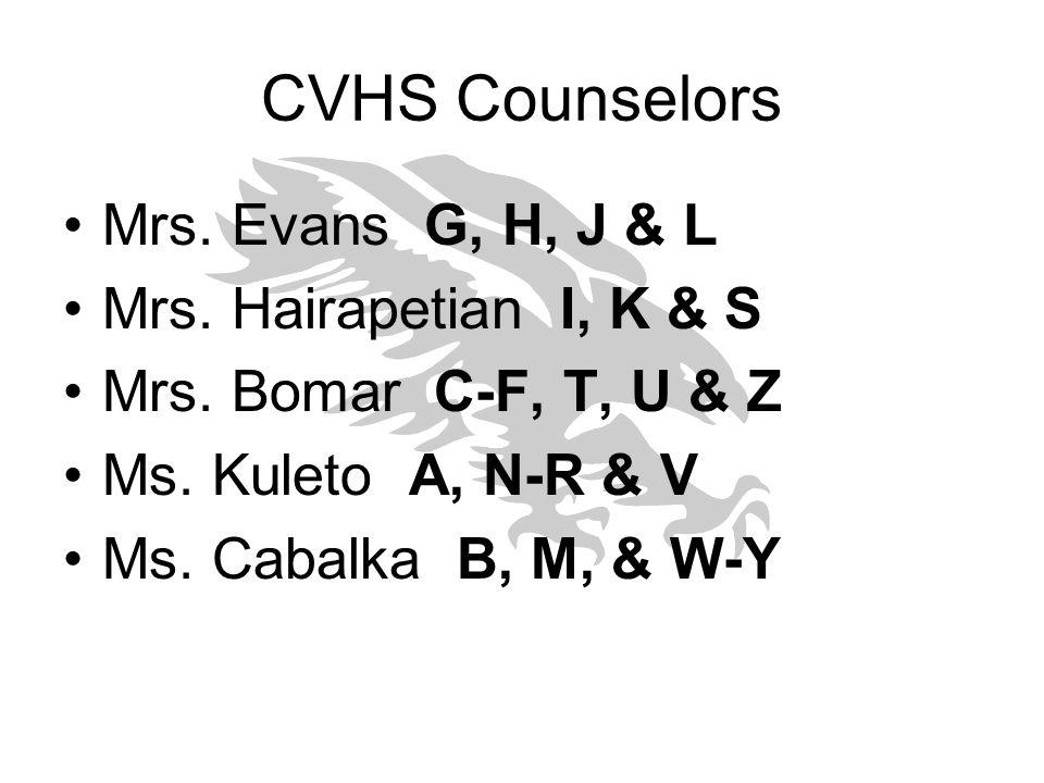 CVHS Counselors Mrs. Evans G, H, J & L Mrs. Hairapetian I, K & S