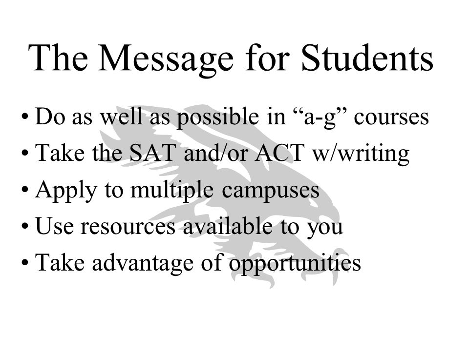 The Message for Students