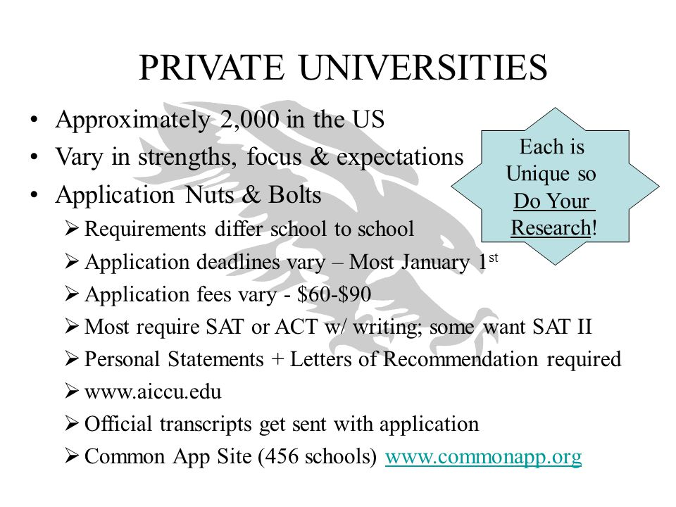PRIVATE UNIVERSITIES Approximately 2,000 in the US