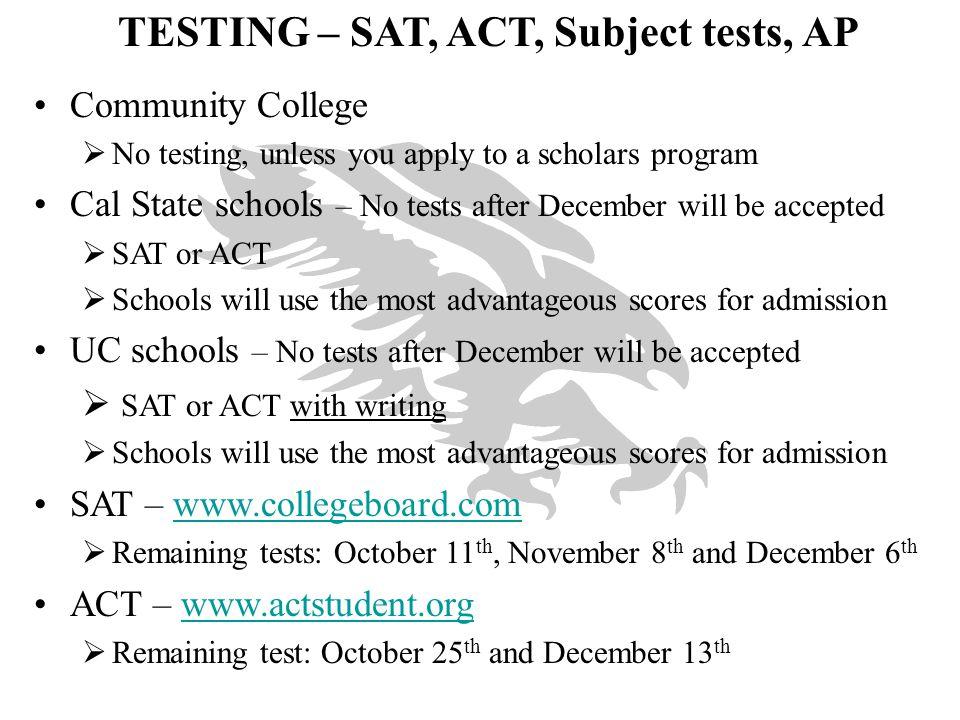 TESTING – SAT, ACT, Subject tests, AP