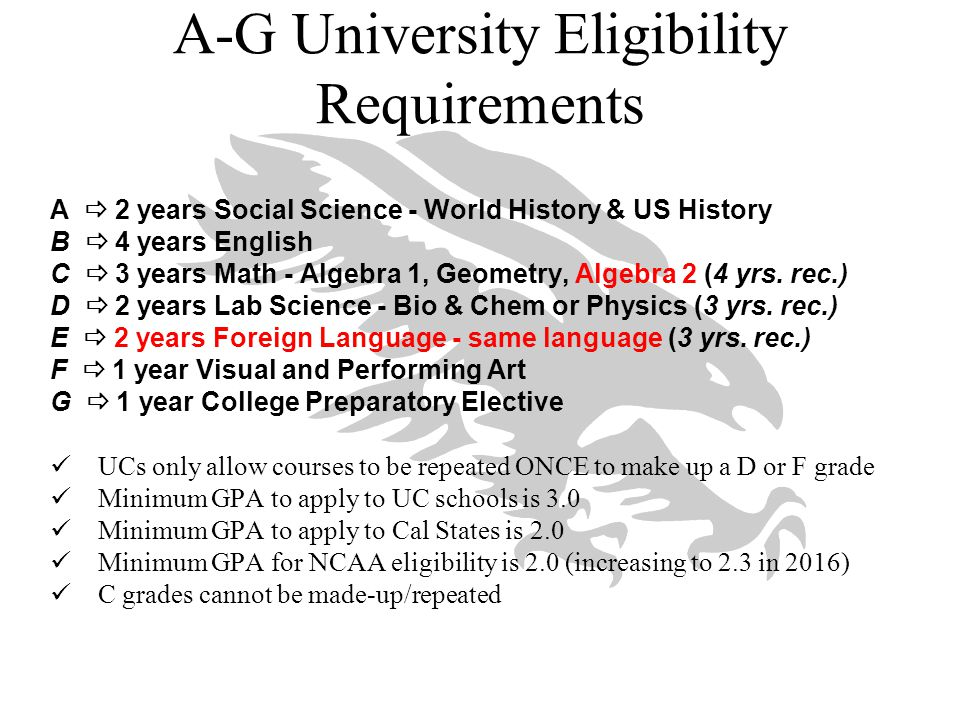 A-G University Eligibility Requirements