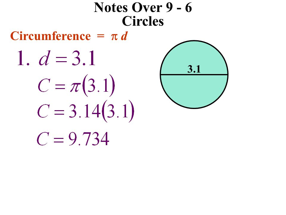 Notes Over 9 - 6 Circles Circumference = p d 3.1