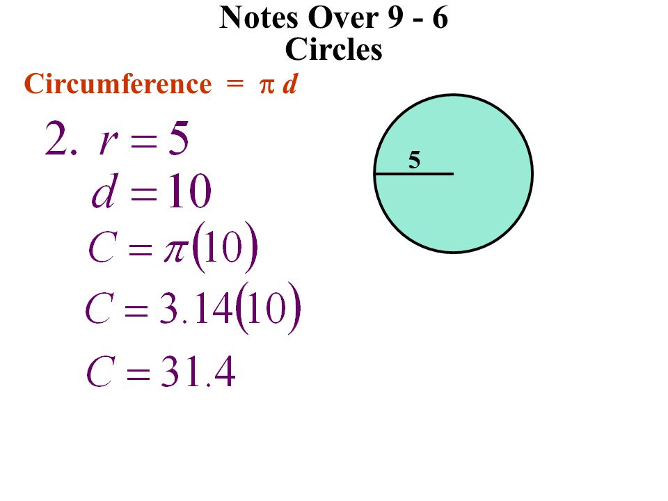 Notes Over 9 - 6 Circles Circumference = p d 5