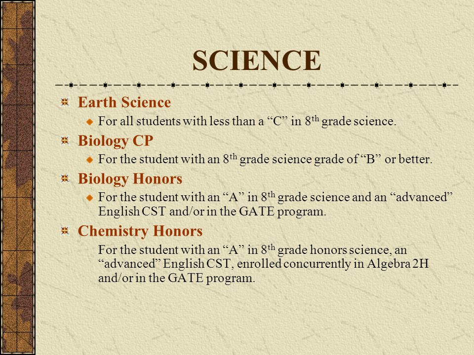 SCIENCE Earth Science Biology CP Biology Honors Chemistry Honors