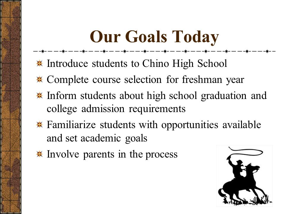 Our Goals Today Introduce students to Chino High School