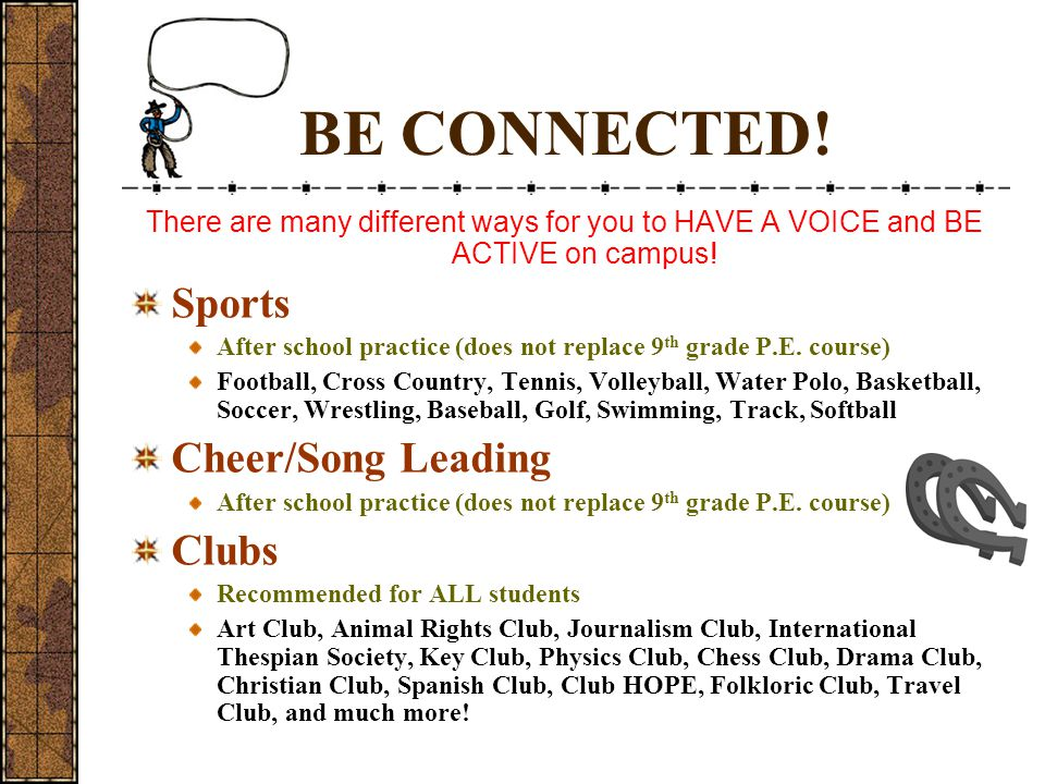 BE CONNECTED! Sports Cheer/Song Leading Clubs