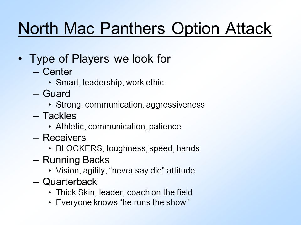 North Mac Panthers Option Attack