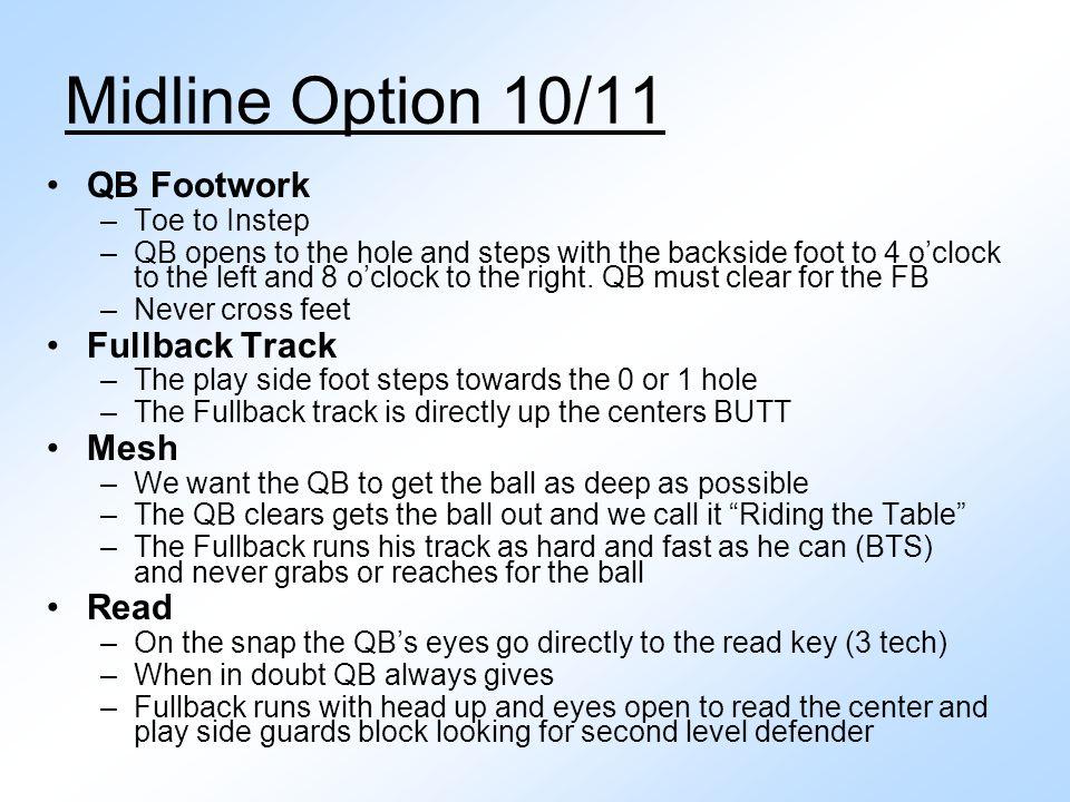 Midline Option 10/11 QB Footwork Fullback Track Mesh Read