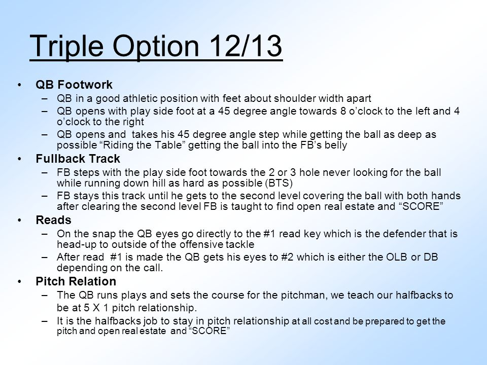 Triple Option 12/13 QB Footwork Fullback Track Reads Pitch Relation