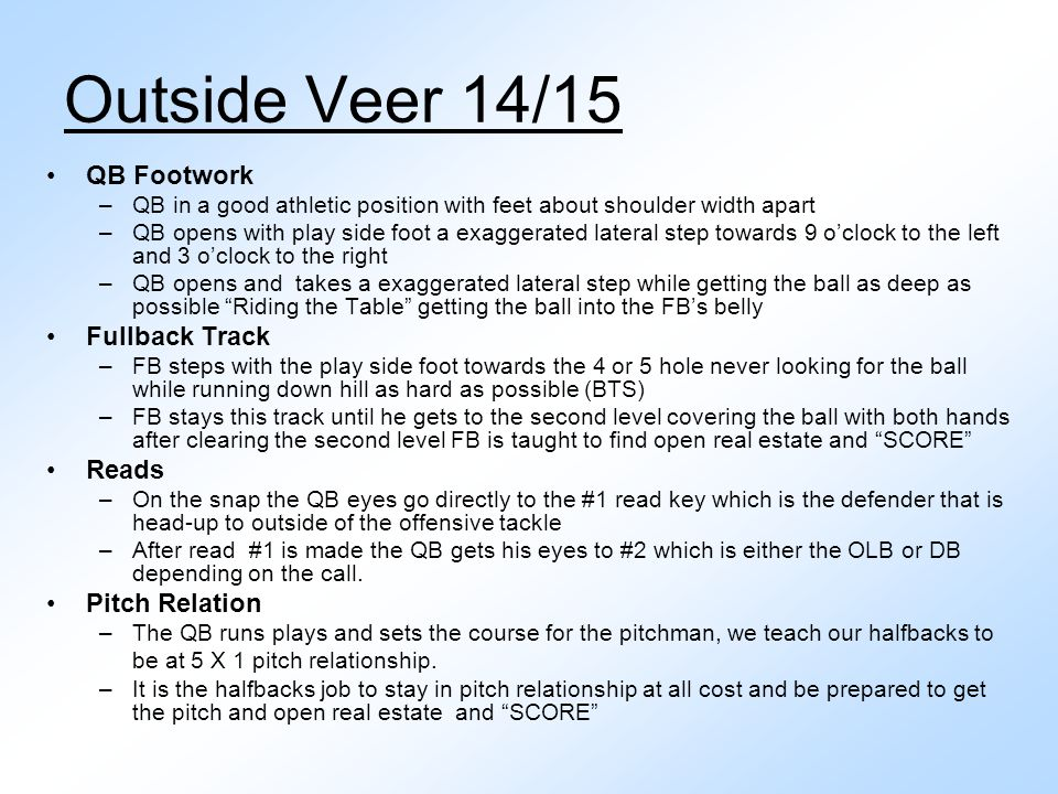Outside Veer 14/15 QB Footwork Fullback Track Reads Pitch Relation