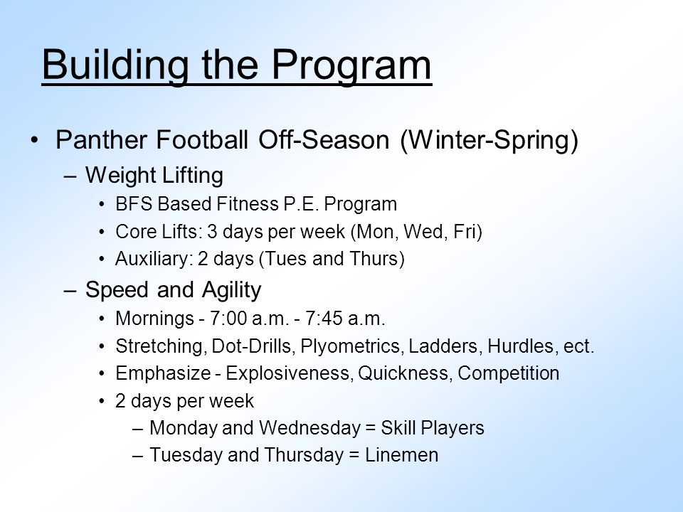 Building the Program Panther Football Off-Season (Winter-Spring)