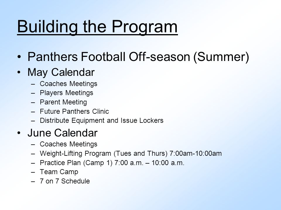 Building the Program Panthers Football Off-season (Summer)