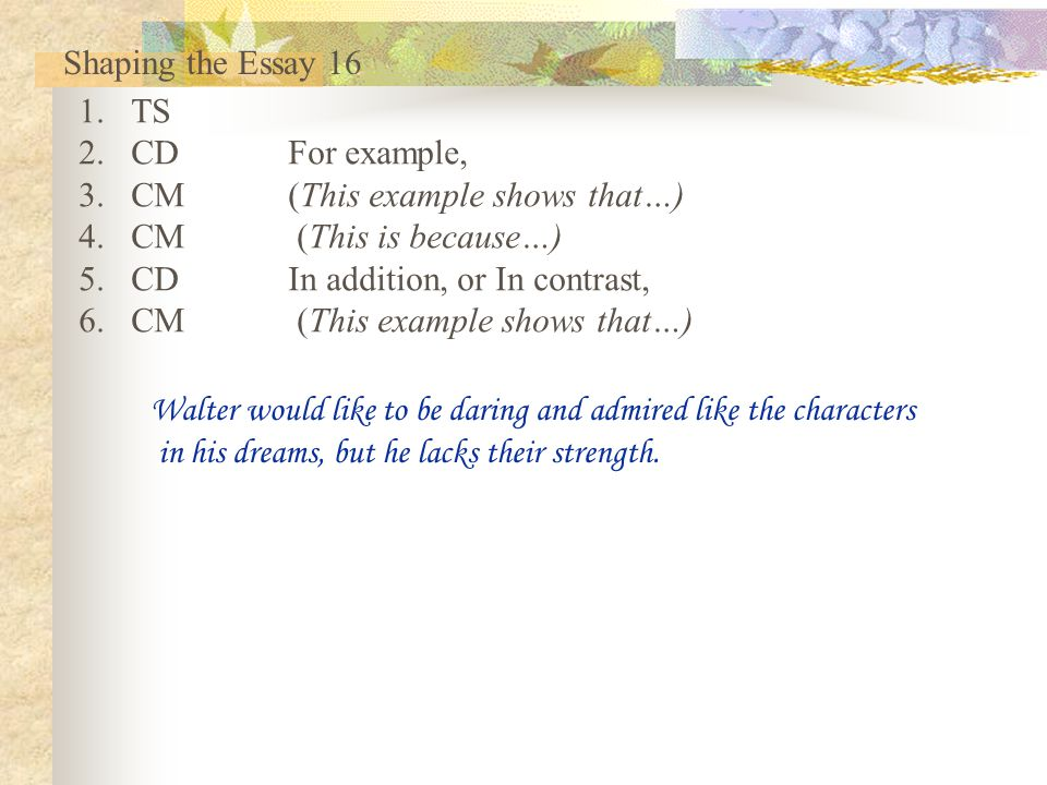 Shaping the Essay 16 TS. CD For example, CM (This example shows that…) CM (This is because…) CD In addition, or In contrast,