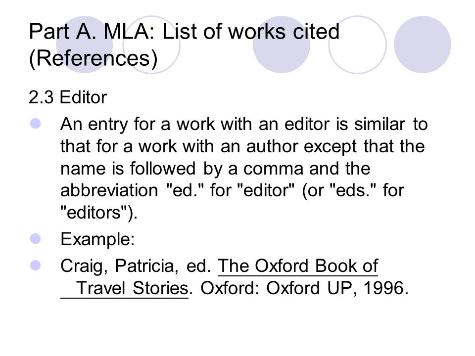 Part A. MLA: List of works cited (References)