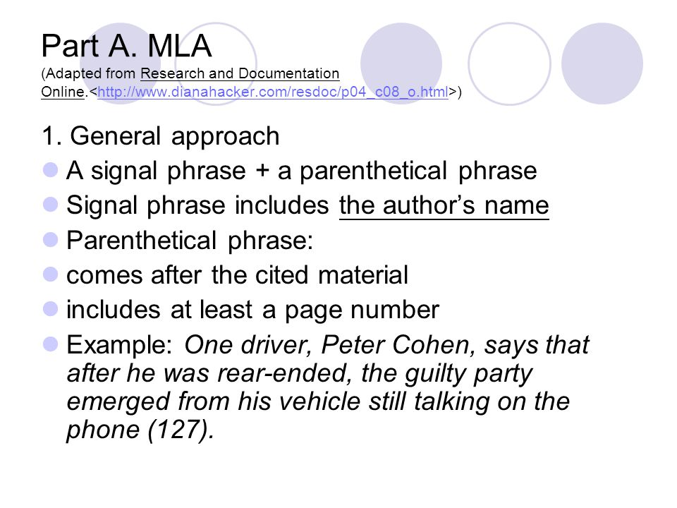 Part A. MLA (Adapted from Research and Documentation Online