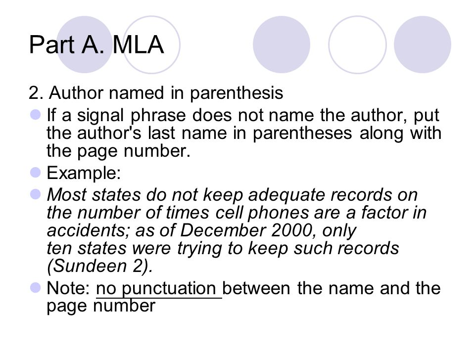 Part A. MLA 2. Author named in parenthesis