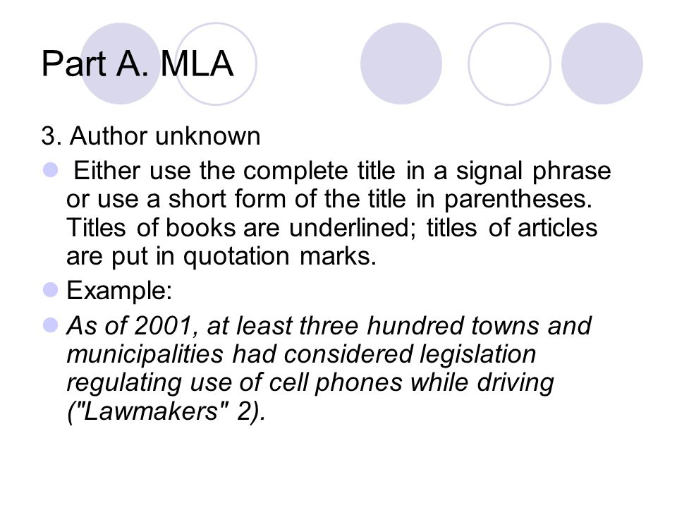 Part A. MLA 3. Author unknown
