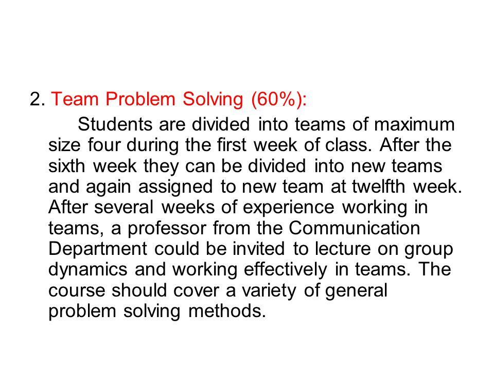 2. Team Problem Solving (60%):