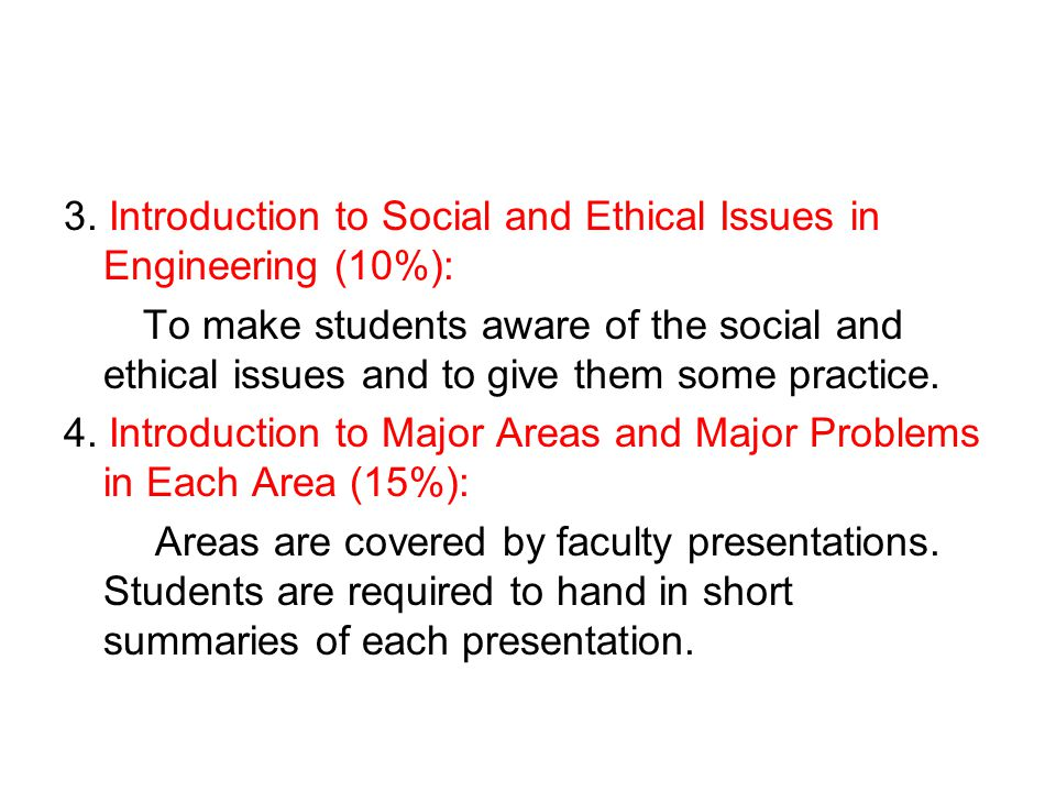 3. Introduction to Social and Ethical Issues in Engineering (10%):