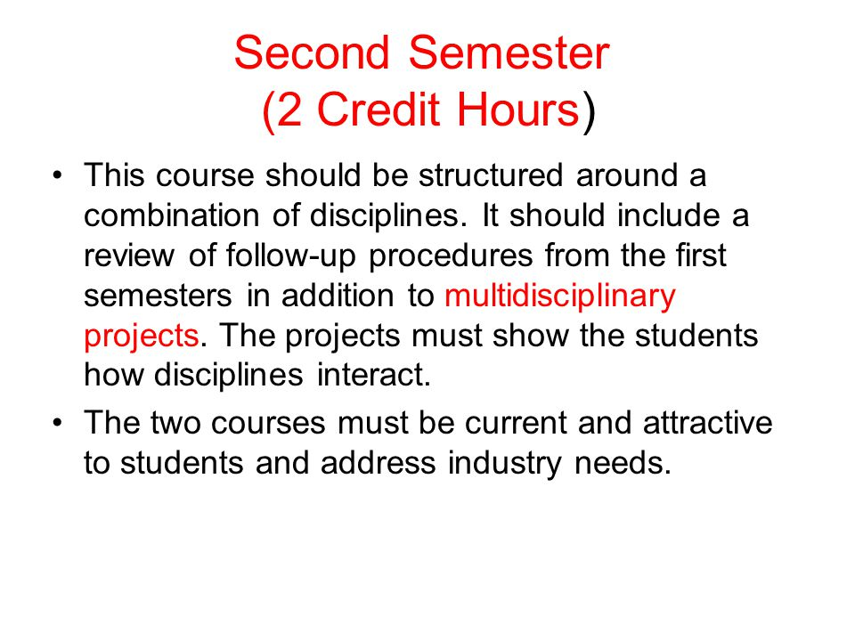 Second Semester (2 Credit Hours)